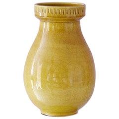 Vintage Ceramic Vase with Yellow Glaze, Italy, 1960's