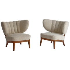 1940's Lounge Chairs in White Boucle, Otto Schulz for Boet, Scandinavian Modern