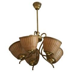 Swedish Designer, Chandelier Light, Brass, Rattan, Sweden, c. 1950s