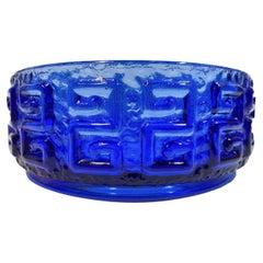 Mid-Century Modern Riihimaki Bowl in Kingfisher Blue with Raised Greek Key
