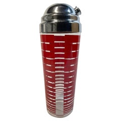 Vintage Cocktail Shaker with Graduated Red Bar Decoration