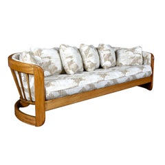 Country Modern Spindle Back 1980s Howard Solid Oak Barrel Shaped Sofa Couch