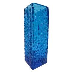 Mid-Century Modern Lindshammar Bark Textured Vase in Kingfisher Blue