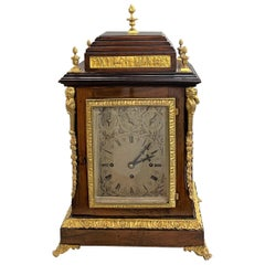 Camerer, Cuss, & Co London English Ormolu Rosewood Musical Bracket Clock