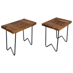 Mid Century Wood and Metal Stools, Italy, 1950s
