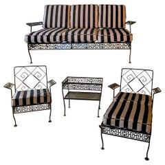 Mid-Century Neo-Classical Style Iron Patio Set with Greek Key Back, S/5