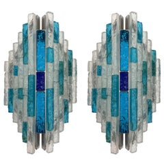 Pair of Hammered Glass and Silver Iron Sconces by Biancardi, Italy, 1970s