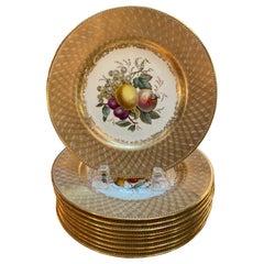 Set of 10 Antique English Copeland Spode Hand Painted Fruit Plates