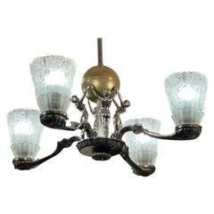 Art Deco Chandelier Silver Plated Female Decobelles
