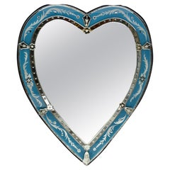 Venetian Heart Shaped Mirror with Etched Blue Glass Border
