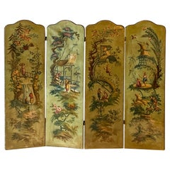 19th-C. French Oil on Canvas Chinoiserie Folding Screen