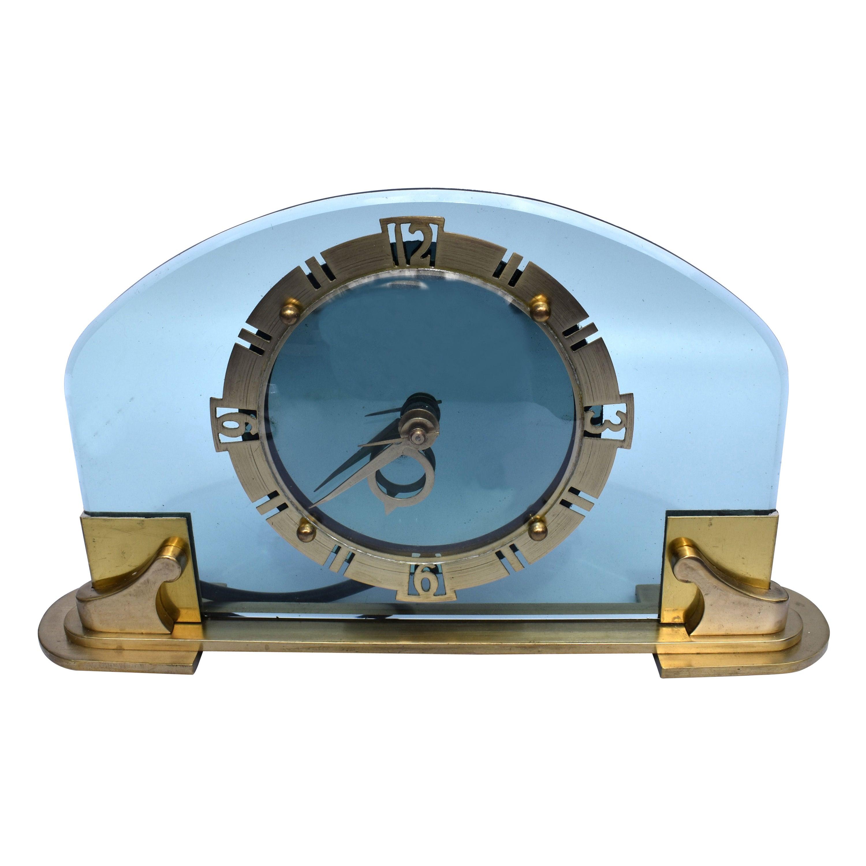 Art Deco Rare and Stunning Bem Ltd Glass, Brass Electric Mantle Clock, c1930