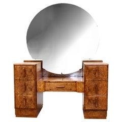 Art Deco Burr Walnut Dressing Table, c1930