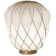 Medium 'Pinecone' Table Lamp in Opaline Glass & Gold Metal for Fontana Arte