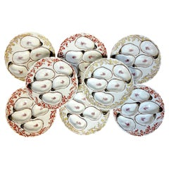 Eight 19th C Havilland Limoges Aesthetic Movement Oyster Plates