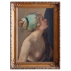 Antique Oil on Canvas Portrait Painting, Ideal Head by Albert Herter, C1900