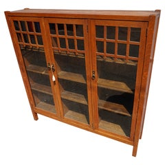 Rare Arts & Crafts Solid Oak Shelved Bookcase Curio Cabinet