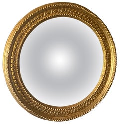 Large English Regency Style Gilded Convex Mirror
