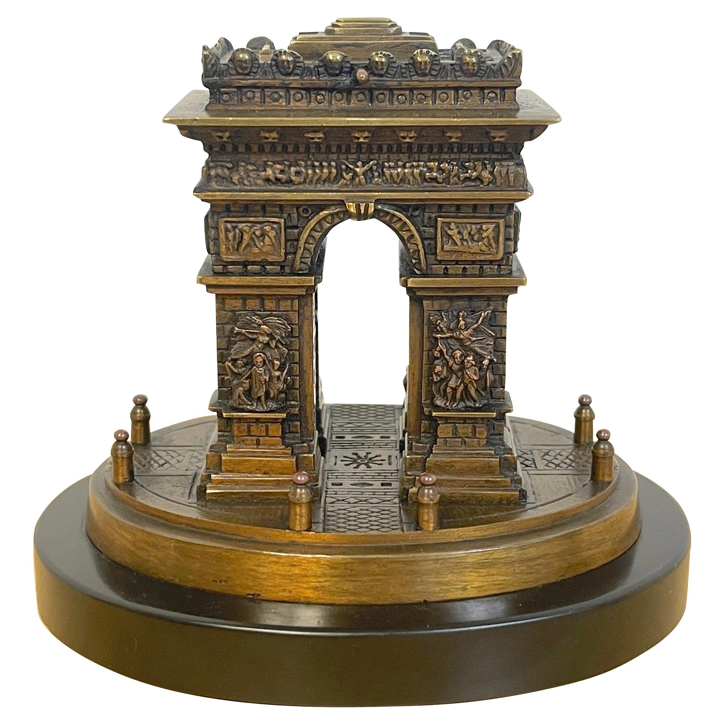Diminutive Grand Tour Bronze Architectural Model of the Arch de Triumph