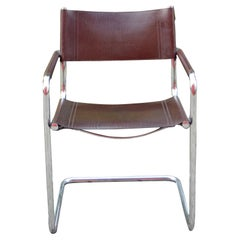 Linea Veam Vintage Italy Maroon Leather Dining Chair Armchair Cantilever