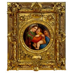 19th C Painting on Porcelain 'Madonna Della Seggiola' After Raphael