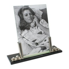 Art Deco Picture Frame Black Opaline Glass and Chrome