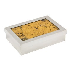 French Art Deco Silver Plate and Cork Box by Debladis, Paris