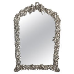 19th Century French Silverplated Putti Motif Dressing Mirror