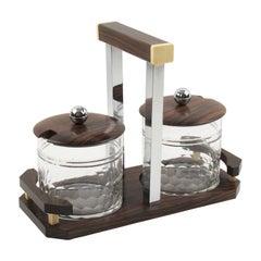 Art Deco Macassar Wood, Chrome and Crystal Condiment Jar Set