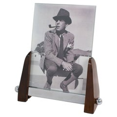 Art Deco Machine Age Chrome and Wood Picture Frame