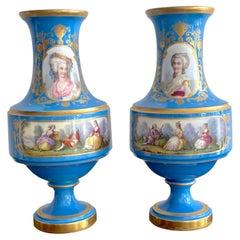 Pair of 19th C Sevres Blue Celeste Portrait Vases