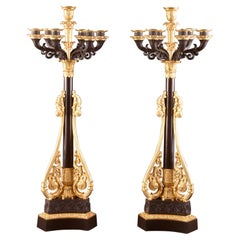 Attributed to Claude Galle Fabric, a Large Pair of Candelabra