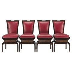 Red Art Deco Chairs from Czechia, 4 Pieces Made Out of Makasar
