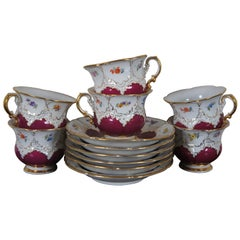 12 Pc Antique Meissen B-Form Teacups & Saucers Floral Crossed Sword Tea Set B154