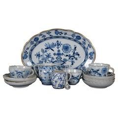 13 Pc Assorted Antique Gilded Blue Onion Meissen Tettau China Dinnerware