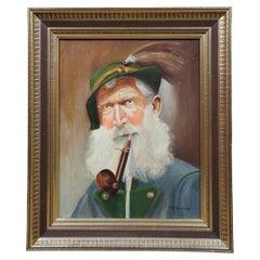 Vintage Oil Painting on Canvas Portrait of an Old German Man P. Scheurmann