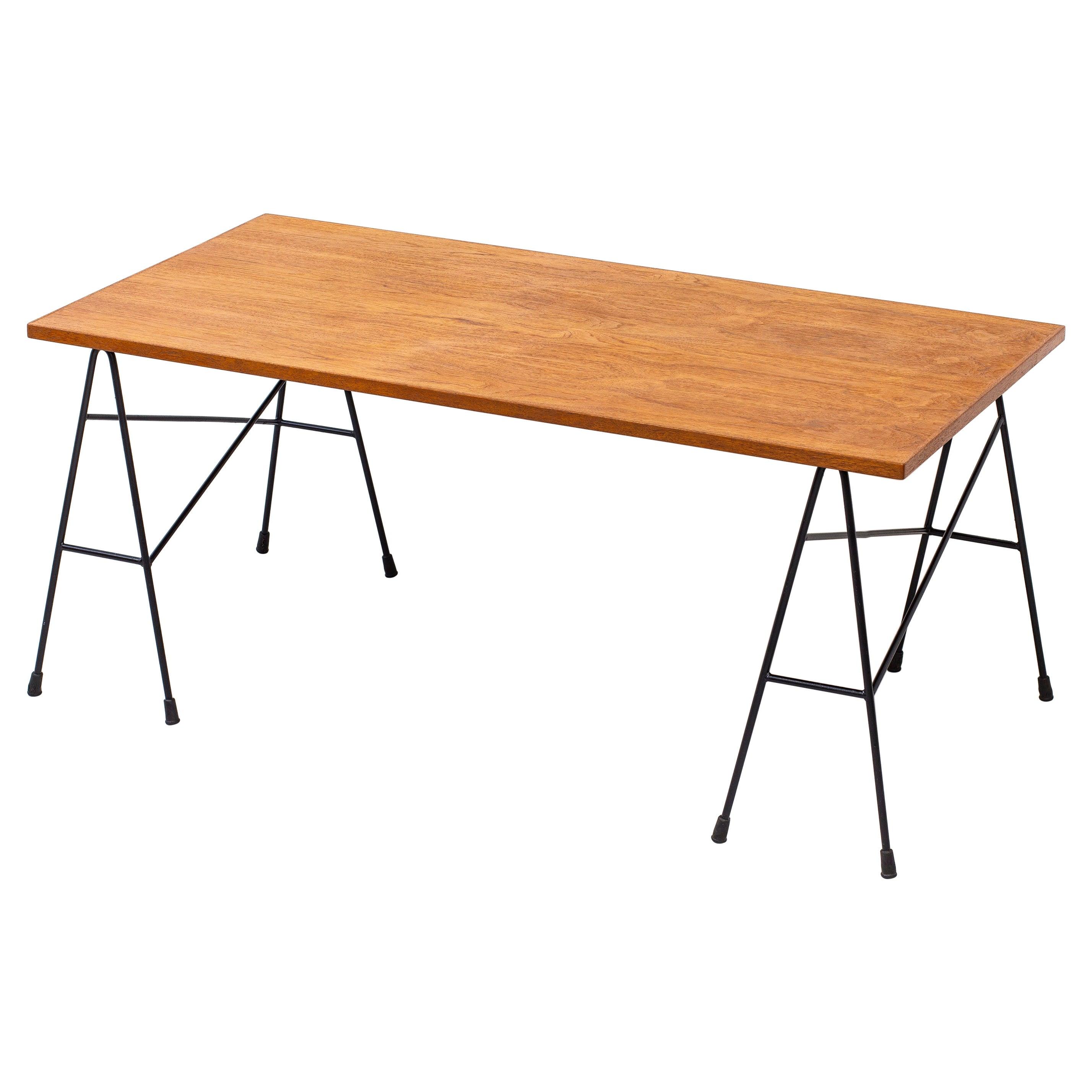Desk /Table by Bengt Johan Gullberg, Metal and Teak, Sweden, 1950s