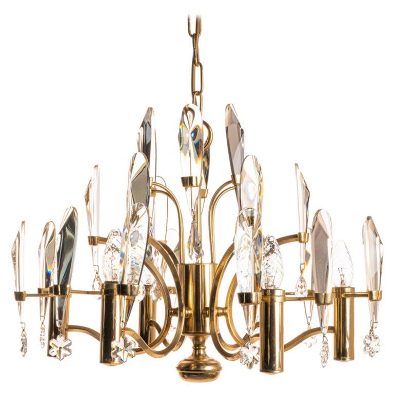 1970's Brass & Glass Chandelier by Gaetano Sciolari For Sale