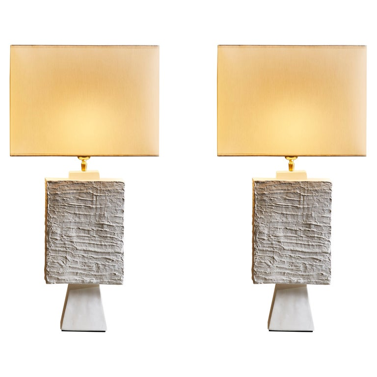 Pair of Plaster Rectangular Table Lamps For Sale