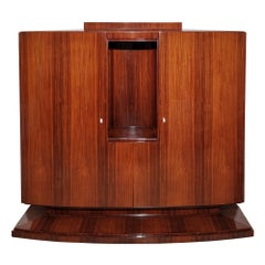 Art Deco Storage Cabinet, Mahogany, Sycamore, Curved Doors, Shelves, France