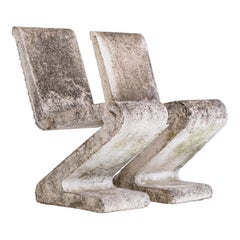 Brutalist Pair of Concrete Zig Zag Chairs, France, ca. 1970s