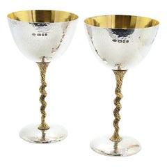 Stuart Devlin Vintage Sterling Silver Pair of Champagne Flutes 1973
