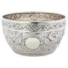 Antique Victorian Silver Bowl with Birds, Elaborately Engraved, London, 1888