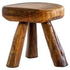 Handmade, Rustic, Sculptural, Massiv Olive Wood Tripod Stool or Side Table