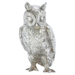 Sterling Silver Detailed Owl Figurine, London 1994