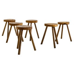 Set of 6, Wooden, Brutalist Tripod Stools or Side Tables, Italy, ca. 1960s