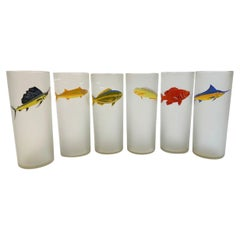 Mid-Century Modern Set of 6 Frosted Tom Collins Glasses with Game Fish Motif