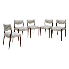 Mid-Century Scandinavian Set of Five Mahogany Geometric Chairs, Denmark, 1950