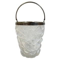 Art Deco Cracked Ice Molded Ice Bucket with Silver Plate Rim and Handle