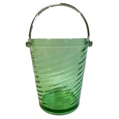 Art Deco Swirled Green Glass, Pail-Form Ice Bucket with Swing Handle
